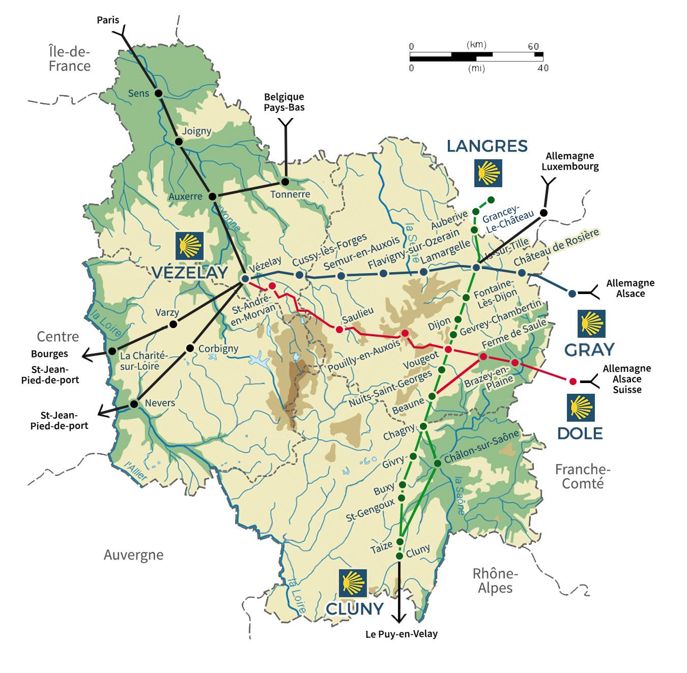 Carte des chemins en Bourgogne